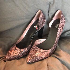 Pink and black snake skin heels
